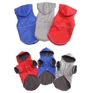 Pet Dog Puppy Raincoat Winter Fleece Warm Clothes Reflective Hooded Coat Jacket