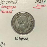 ALLEMAGNE PRUSSIA - 1/6 THALER 1823 A - Pièce de Monnaie en Argent