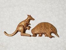 Vintage Carved Wooden Kangaroo & anteater? Magnets, Handmade ?