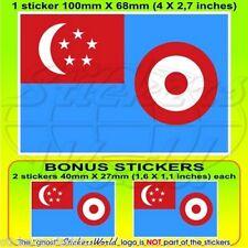 "SINGAPORE AirForce RSAF Bandiera 1968-73 Adesivi 100mm (4"") Sticker, x1+2 BONUS"