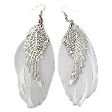 ENGEL FEDER OHRRINGE Flügel Engelsflügel Weiß silber Ohrschmuck Ohrhänger NEU