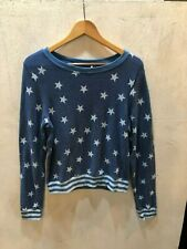 Wildfox Couture Women's Two-Tone Blue Stars & Stripes L/S Pullover Sweater Sz M