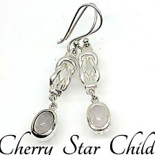 Solid sterling 925 silver knot drop earrings set with polished pink rose quartz