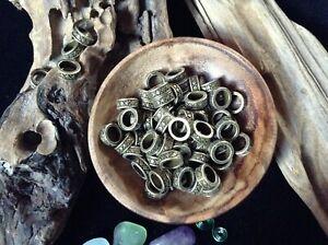 12 x Bronze Dread Beads 6mm Hole Narrow Cross Weave Patterned Dreadlock Beards