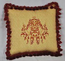 "Custom Embroidered Ralph Lauren Northern Cape Tan Raffia Fabric Pillow 16""  NEW"