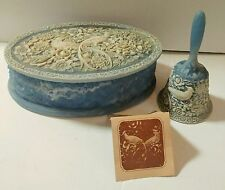 Vintage Incolay Stone Birds of  Paradise Large Jewelry Trinket Box & Bell Set