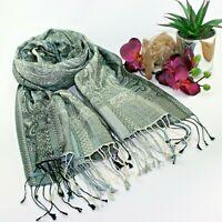 BNWT Luxury soft PAISLEY PRINT silk pashmina shawl head scarf wrap in grey