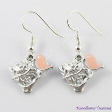 Enamel & Pearl Mother Bird Charm Hook Earrings 33mm Iron Hooks