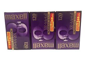 Maxell Hi8 Pro Quality Video Cassettes Lot of 3 P6-120 XR Metal - NEW