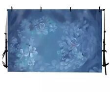 Photography Backdrop floral Blue art background poly fabric
