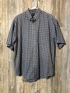 Arrow Men's Wrinkle Free Short Sleeve Button Down Shirt Navy Green Plaid Size L