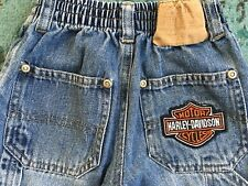 Harley Davidson 2T HD Carpenter Jeans Pull-on Mock Faux Button Fly Patch Rivets