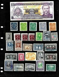 HONDURAS : NICE  'VINTAGE'  STAMP COLLECTION   DISPLAYED ON 3 SHEETS. SEE SCANS