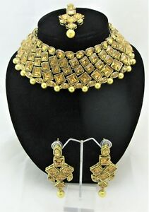 BRIDAL JEWELLERY NECKLACE EARRING ANTIQUE INDIAN CHOKER GOLD PLATED WEDDING SET