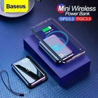 Baseus 10000mAh Powerbank 10W Qi Wireless Charger 2 in 1  Phone External Battery
