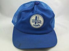 Detroit Lions Patch Hat Vintage Blue Snapback Trucker Cap Made USA