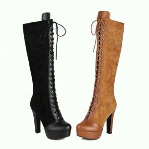 Women's Knee High Boots Suede Platform Shoes Lace Zipper Block High Heels Casual
