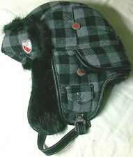 Pajar Canada Buffalo Check Helmet Trapper Ear Flap Hat Gray Size S/M New