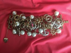 Betsey Johnson Vintage HUGE Nautical Pearl Anchor Lifesaver Seahorse Bracelet