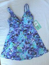 Penbrooke Swimdress Lilac/Blue/Green Print size 16 or 18