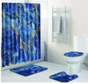 TAMOC 4 Pcs Abstract Tree Annual Rings Shower Curtain Set with Non-Slip Rug Teal Bathroom Shower Curtain Toilet Lid Cover and Bath Mat Waterproof Modern Art Shower Curtain with 12 Hooks