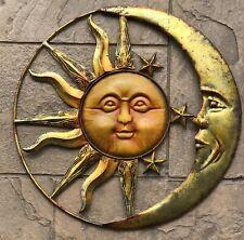 """20"""" Metal Sun Moon Stars Eclipse Wall Art Copper Gold Indoor/Outdoor Garden Used"""