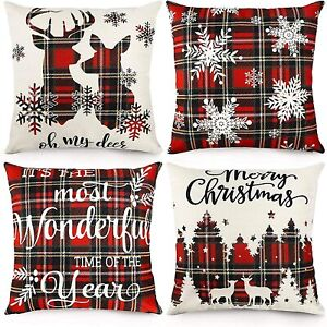 Set of 4 CDWERD Christmas Pillow Covers 18x18 Inches Plaid Farmhouse Deer Snow +