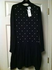 Chanel 14B 2015 NEW TAGS BLACK MOHAIR CASHMERE DRESS with PEARLS FR38