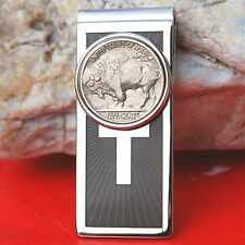 1913~38 Indian Head Buffalo Nickel 5c Silver Plated Cross Luxury Money Clip NEW