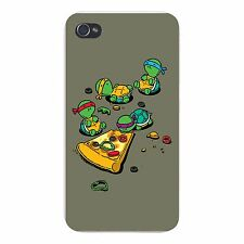 Pizza Lover Turtle Funny Cartoon Parody FITS iPhone 4 4s Snap On Case Cover New