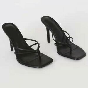 Women Summer Sandals Square Toe High Heels Flip Flops Mules Slipper Party Shoes