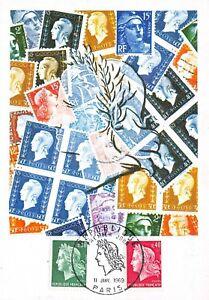 Carte Maximum FDC France TIMBRE DE LA RÉPUBLIQUE Janvier 1969 Paris