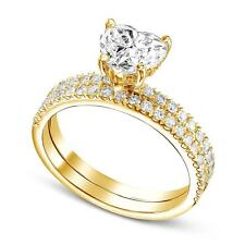 2 CT Heart Diamond Engagement Ring With Matching Band 18k Yellow Gold D VS2