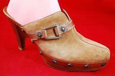 """Cole Haan Shoes Womens 10 B Tan/Brown Leather Mule Clog 4"""" Heel Platform Slide"""