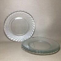 Set of (4) ARCOROC Clear GLASS CLEARBROOK Swirl DINNER PLATES Durand 9 3/4""