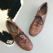Ecco Size 37 6 Brown Oxford Lace Up Shoes Comfort Women's Round Toe Walking
