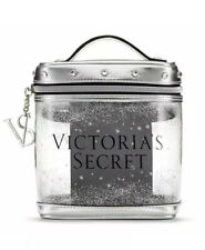 VICTORIA'S SECRET SILVER METALLIC CLEAR TRAIN CASE BEAUTY BAG MAKEUP COSMETIC