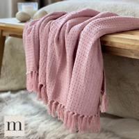 Luxury 100% Cotton Dusky Blush Pink  Waffle Check Large Blanket Throw Bed Sofa