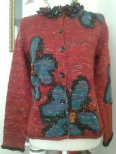 Susan Bristol Small Cardigan Sweater Red Blue Flowers Loop Fringe Collar