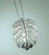 15mm Rhodium Plated 925 STER Silver Brushed Satin Hawaiian Monstera Leaf Pendant