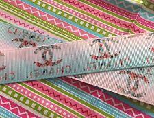 "1m Pink Blue Ombré C Famous Brand Grosgrain Ribbon 7/8"" 22mm Designer Logo"