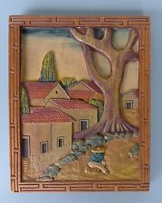 """Vintage 1940s Mexican Early California wood carved bas relief 8"""" x 10"""""""