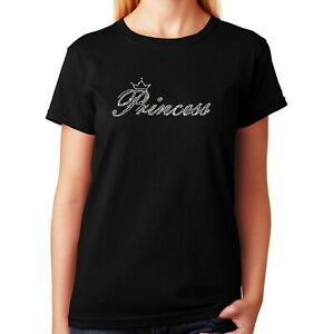 "Women's / Unisex Rhinestone T-shirt "" Crystal Princess "" in Sm to 3XL"