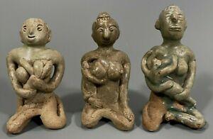 Lot of 3 Thai Thailand Celadon Porcelain Mother & Child Tukatha Figurine 12th c.
