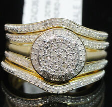 Women's Ladies Bridal Engagement Real Diamond 3 Piece Ring Set 10k Yellow Gold