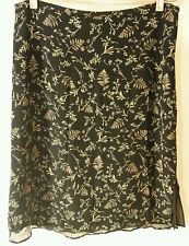 Merona Skirt Women Size Large Black Floral 100% Silk Side Zip Lined RN#17730