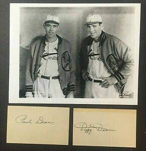 Dizzy & Paul Dean Signed Index Cards Lot of 2 St Louis Cardinals Gas House Gang!