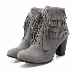 Womens Retro Round Toe Tassel Zip Ankle Boots Winter Lace Up Block Heels Shoes