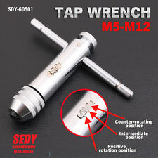 Ratchet Tap Wrench T-Handle Bar Type Ratcheting Tapping Extractor M5-M12 4.6-8mm