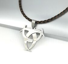 Silver Poison Symbol Biohazard Pendant 3mm Brown Braided Leather Choker Necklace